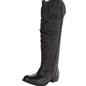 Leather Matisse black riding Moto boots slouch 8